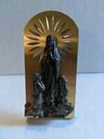 Vintage Religious Gold Tone Lourdes Desk Ornement Icon Shrine Plaque