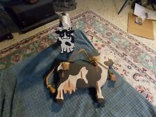 "Vintage Wood Horse Stirup Cow Folk Art & Wall Hanging 11"" Vg !"