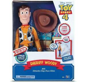 Toy Story 4 Sheriff Woody With Interactive Drop-Down Action( Damage packging )
