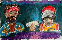 Abstract Portrait Cheech and Chong Up In Smoke in Car Art Original Painting