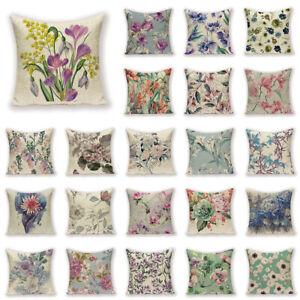 """18"""" Vintage Flowers Pillow Case Cotton Linen Sofa Cushion Cover Home Decoration"""
