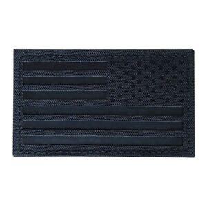 USA American Reverse Flag Black on Black IR Military Morale Patch - Hook & Loop