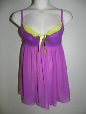 Cacique 1pc Babydoll Lingerie Plus Size 14/16 Underwire Purple & Lime NWOT