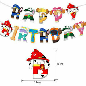 PAW Patrol Happy Birthday Banner Hanging Bunting Foil Balloons Party Decoration
