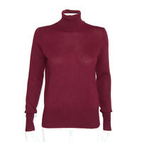 NEIMAN MARCUS 100% Cashmere Cranberry Red Turtleneck Sweater Womens sz M /6177