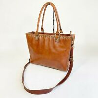 Patricia Nash Zancona Studded Top Tote Medium Brown Leather Shoulder Bag Women's