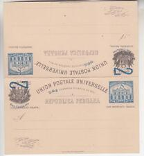 PERU, Postal Card with Reply, 1898 Post Office, 2 in Blue on 5c., H & G 30
