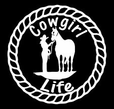Cowgirl Life Horse Rope Vinyl Decal Sticker Car Truck Window