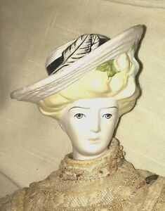 Antique Bisque Parian, Gibson Girl Doll with Molded Hat 17 Inches after E Clear