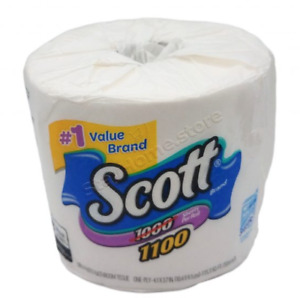 Scott Brand Toilet Tissue Single Ply 1100 Sheets per Roll (4 Rolls included)