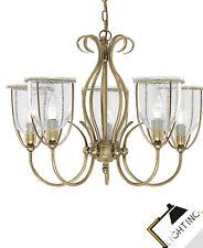 5-Flammige Dekorative Kronleuchte Cluster Handlamp Lampe Glas Metall LED Leuchte