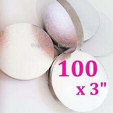 "100 X 3"" Silver Round Thin Cut Edge Cake Cupcake Boards Cards Sugarcraft Culpitt"