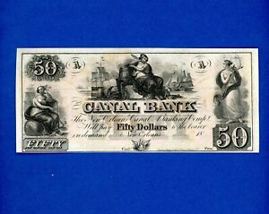 1800's $50 The Canal & Banking Co.  New Orleans LOUISIANA CRISP UNC