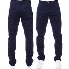 Mens Enzo DESIGNER Fashion Chinos Stretch SKINNY Slim Fit Jeans Pants All Sizes Navy 42 In. 32l