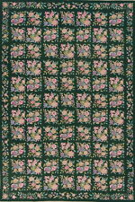 Hanging Wall Hunter Green Floral Aubusson Needle-point Chinese Area Rug Wool 6x9