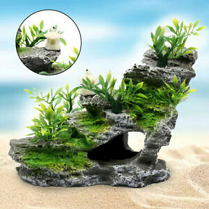 Aquarium Mountain Resin Stone Rock Coral Reef Cave Fish Tank Ornament Decor