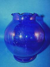 "Anchor Hocking COBALT BLUE Ruffled Top Glass 5"" Rose Bowl Flower Vase @17"