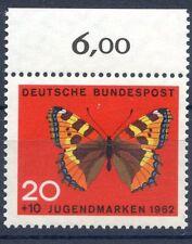 Bund/BRD 378  Einzelm.m.OR (20+10) -Jugend;Schmetterlinge- ** Postfrisch 1962