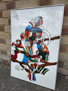 Vintage Art Craft Hand Painted Unfinished Burhan Glass Sun Catcher Of Parrots