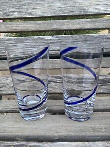 Blue Swirline Glasses Pier 1 Set of Two Highball