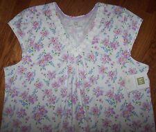 "NWT Karen Neuburger White/VINTAGE LILAC PURPLE FLORAL Nightgown XL Gown 47"""