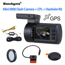 "Mini 0906 1.5"" Dual Lens HD 1080P Car Dash Camera GPS 1/2.8"" CMOS +CPL +Hardwire"