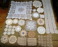 Crochet Pieces Handmade Linens Mixed Lot of 22 Vintage Textiles Crocheted