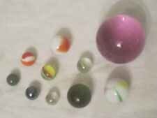 "2"" jumbo large purple glass marble sphere ball + marbles swirl mixed size balls"