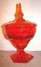 Vintage Viking Glass Orange Georgian Covered Candy Jar