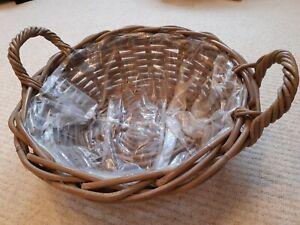 BN New Planter Gift Hamper Wicker Basket Round 39cm Diameter
