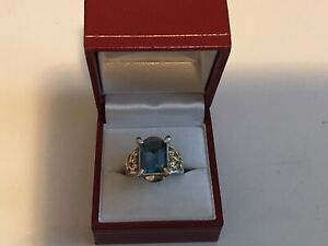 14k/Sterling London Blue Topez Ring