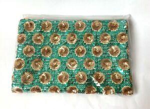 New Tarte Green and Gold Sequin Makeup Bag