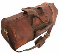 Vintage Brown Leather duffel Travel Men Retro Gym Sports Overnight Weekender Bag