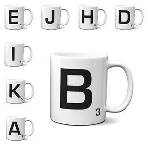 Scrabble Inspired Letter Mug Personalised Gift AZ Letters Gift 11oz Ceramic