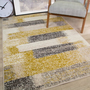 Ochre Yellow Rugs Modern Grey Distressed Look Stripe Carpet Mats Cheap Non Shed