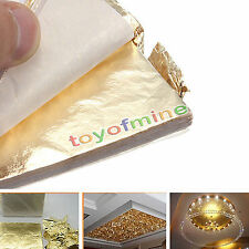 100X Gold Leaf Sheets/Leaves Sheets Gilding Imitation Art Craft Supplies 14x14cm