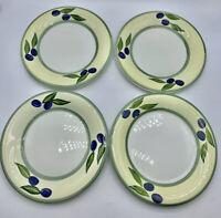 Dansk Blueberry Berries Ceramic Dinnerware Large Dinner Plates Set of 4