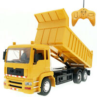 Qu_ 1/24 8CH Remote Control Dumper Truck Engineering Car with Music LED Kids Toy