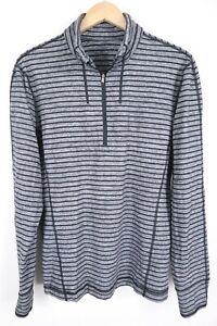 Lululemon Mens sz Large Black Grey Striped 1/4 Zip Pullover Lightweight Sweater