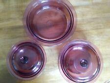 5 Pc Cranberry Vision Cookware - 24oz w/lid-1.5Qt w/Lid and 2.5Qt