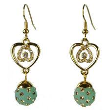 Boucles d'oreilles plaqué or jaune cristal Swarovski coeur doré boule verte