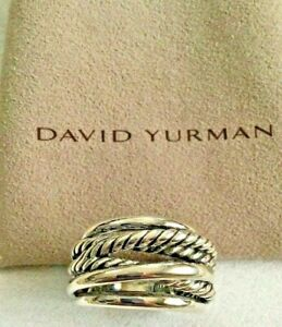 David Yurman Sterling crossover Cable Ring Size 6.5