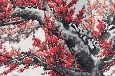 GIANT RED KAPOK TREE FLOWER FLORAL BLOSSOM ASIAN PAINTING ON PAPER SCROLL 124X37