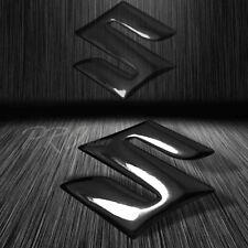 "2"" 3D ABS Emblem Decal Logo Polished/Glossy Fairing/Fender Sticker Suzuki Black"