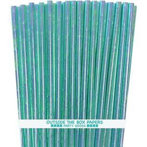 100 Blue Iridescent Paper Straws