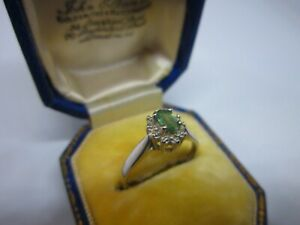 A Lovely Ladies 10ct Gold Sea Green Topaz Solitaire Ring with Diamonds Size L