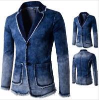 Mens Vintage Suit Blazer Denim Jeans Slim Coat Jacket Vogue Casual Biker Fashion