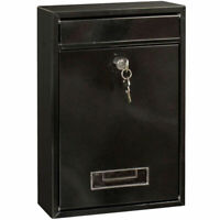 Galvanized Steel Wall Mounted Letter Box Post Mail Box with 2 Keys Black