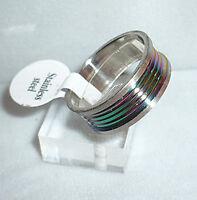 Edelstahl Ring, silber + MULTICOLOR, Gr. 17, 18, 19, 20, 21, 22, Schmuck, NEU