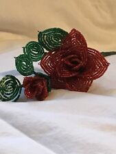 Handmade Beaded Red Rose Bud Leaves Mother's Day Anniversary Glass 11/0